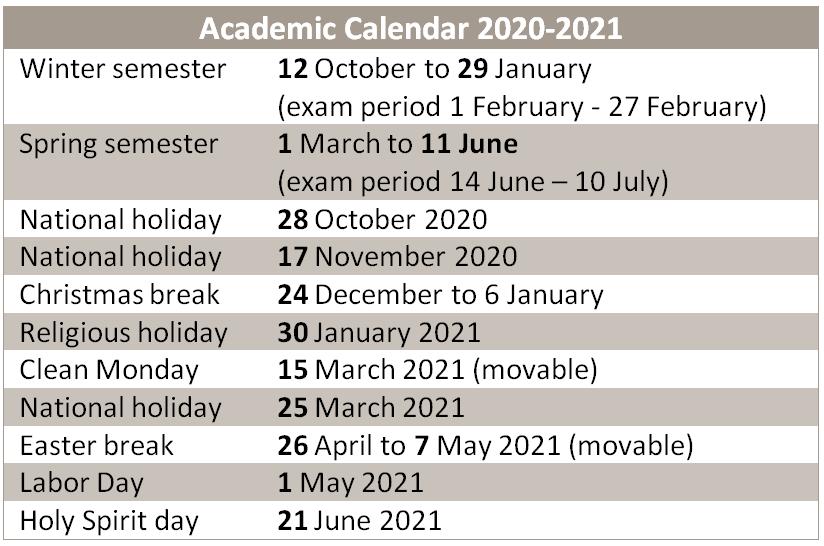 Academic Calendar dates